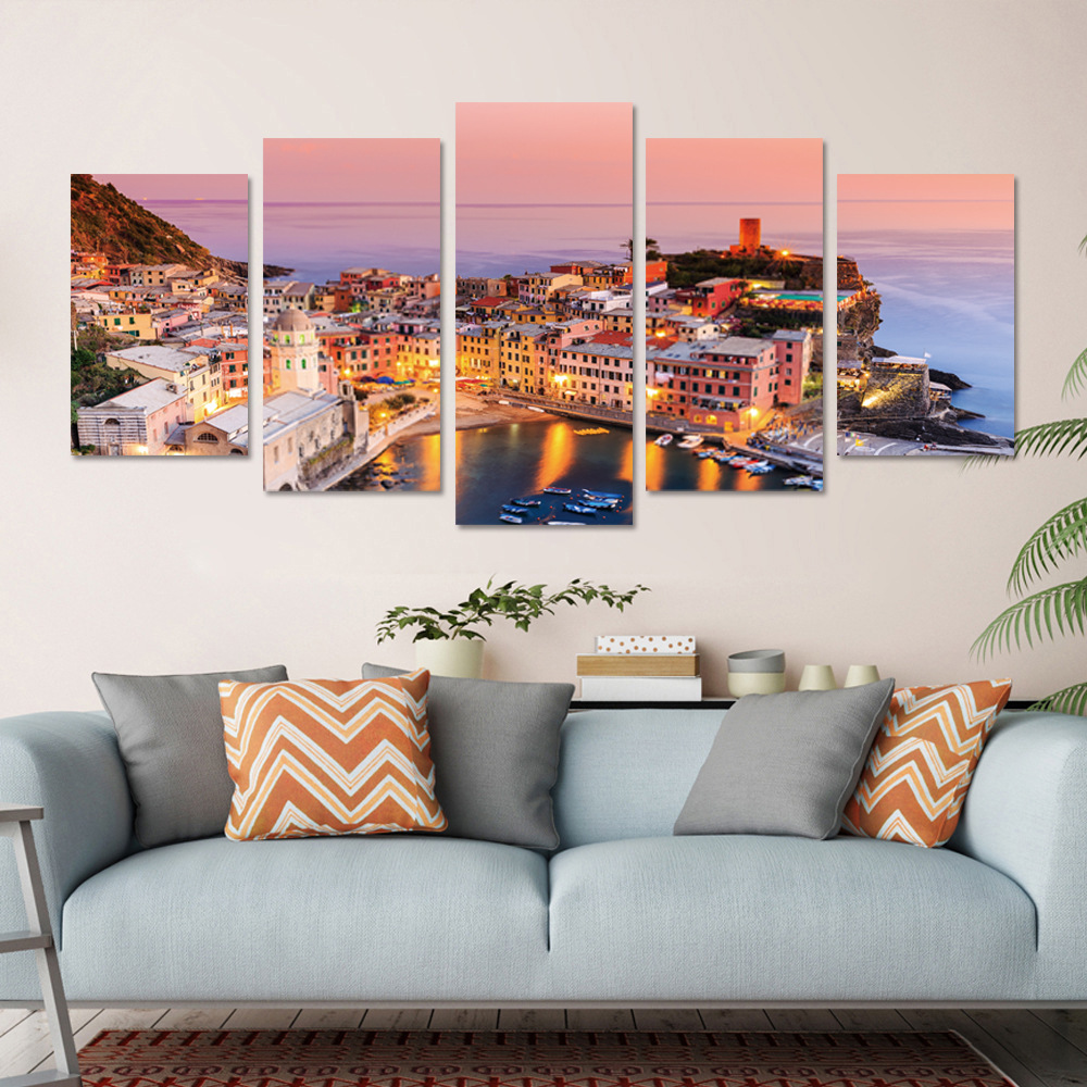 5 Panel Frameless Print Italian Town Oil Paintings on Canvas Wall Picture for Living Room Decor