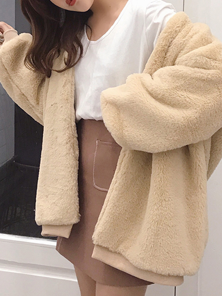 Thick Faux Fur Solid Color Long Sleeve Oversized Coats