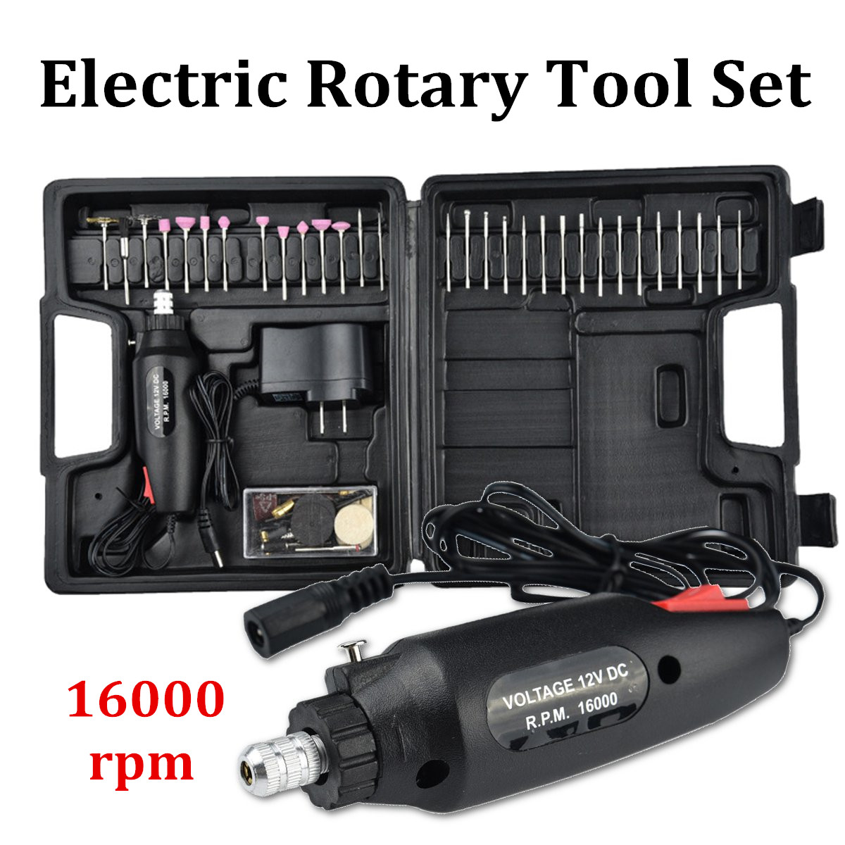 60Pcs Electric Polishing Grinder Rotary Tool Kit 12V Power Drill Machine & Accessories