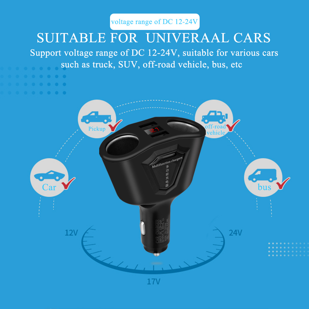 3.1A Dual USB Car Charger Cigarette Lighter Sockets 120W Power Support Display Current Volmeter