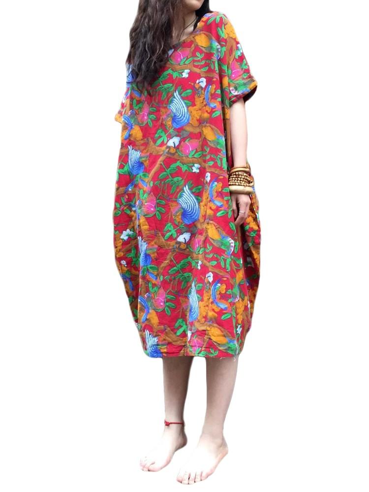 L-5XL Vintage Women Floral Pattern Printed Pocket Dress