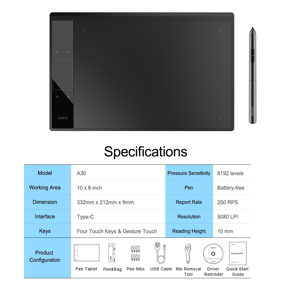 VEIKK A30 Graphics Drawing Tablet for Illustrator 10x6 inches Large Active Area Digital Pen Drawing Pad For Artists