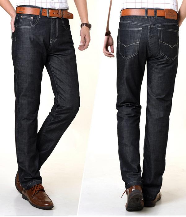 Men Straight Leg Loose High Waist Spring Autumn Jeans Size 30-42