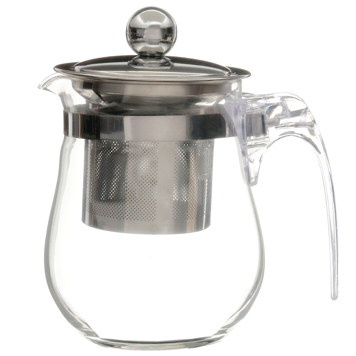 350mL 12fl.oz Heat Resisting Clear Glass Teapot Stainless Steel Infuser Flower Coffee Pot Tool