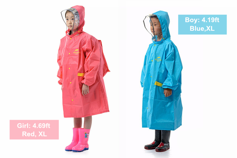 Naturehike NH16D001-M Waterproof PU3000mm Children Raincoat Polyester Rainwear