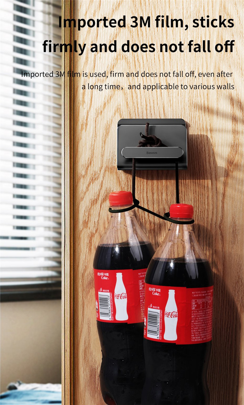 Baseus Metal Strong Adhesive Sticky Cable Organized Wall Mount Desktop Holder for iPhone Mobile Phone