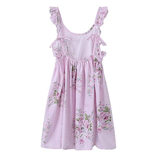 Kid Girls Cotton Vintage Floral Printed Sleeveless Backless Princess Dress