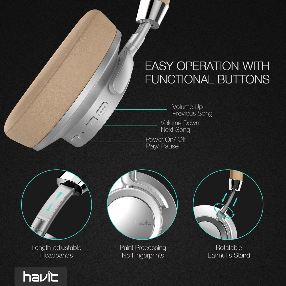 Havit I18 Wireless bluetooth Headphone Heavy Bass Noise Cancelling Stereo Soft Headset with Mic