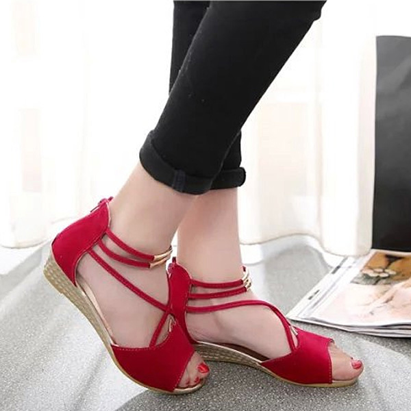cf363f3e7abdb3 Women Summer Chic Shoes Strappy Flat Sandals Breathable Peep Toe Sandals