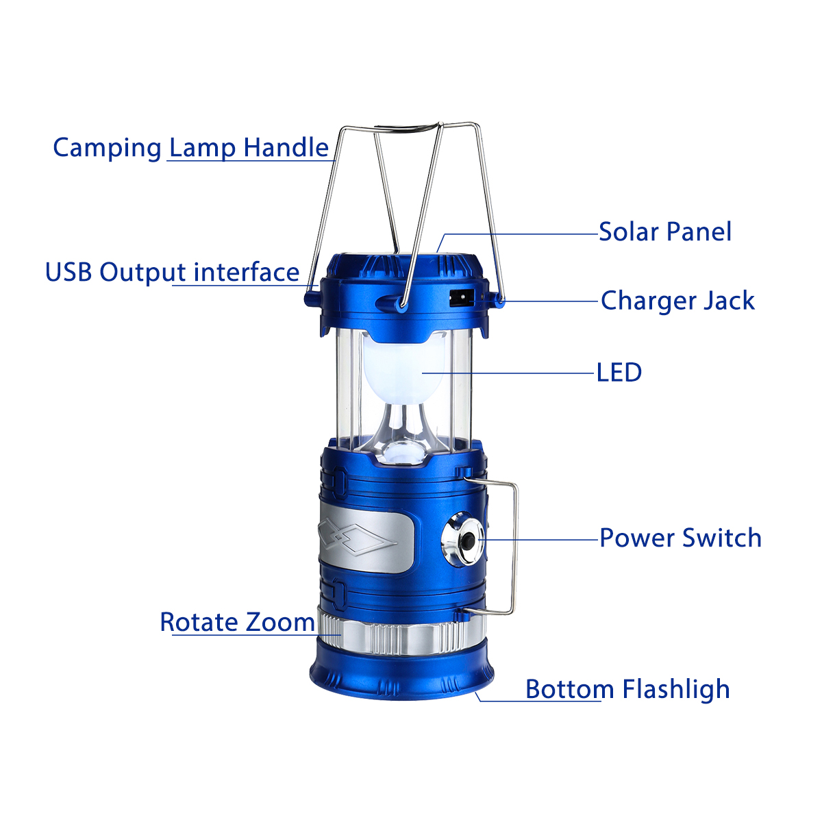 Portable Rotate Zoom Lantern Camping Tent LED Solar USB Rechargeable Flashlight Torch