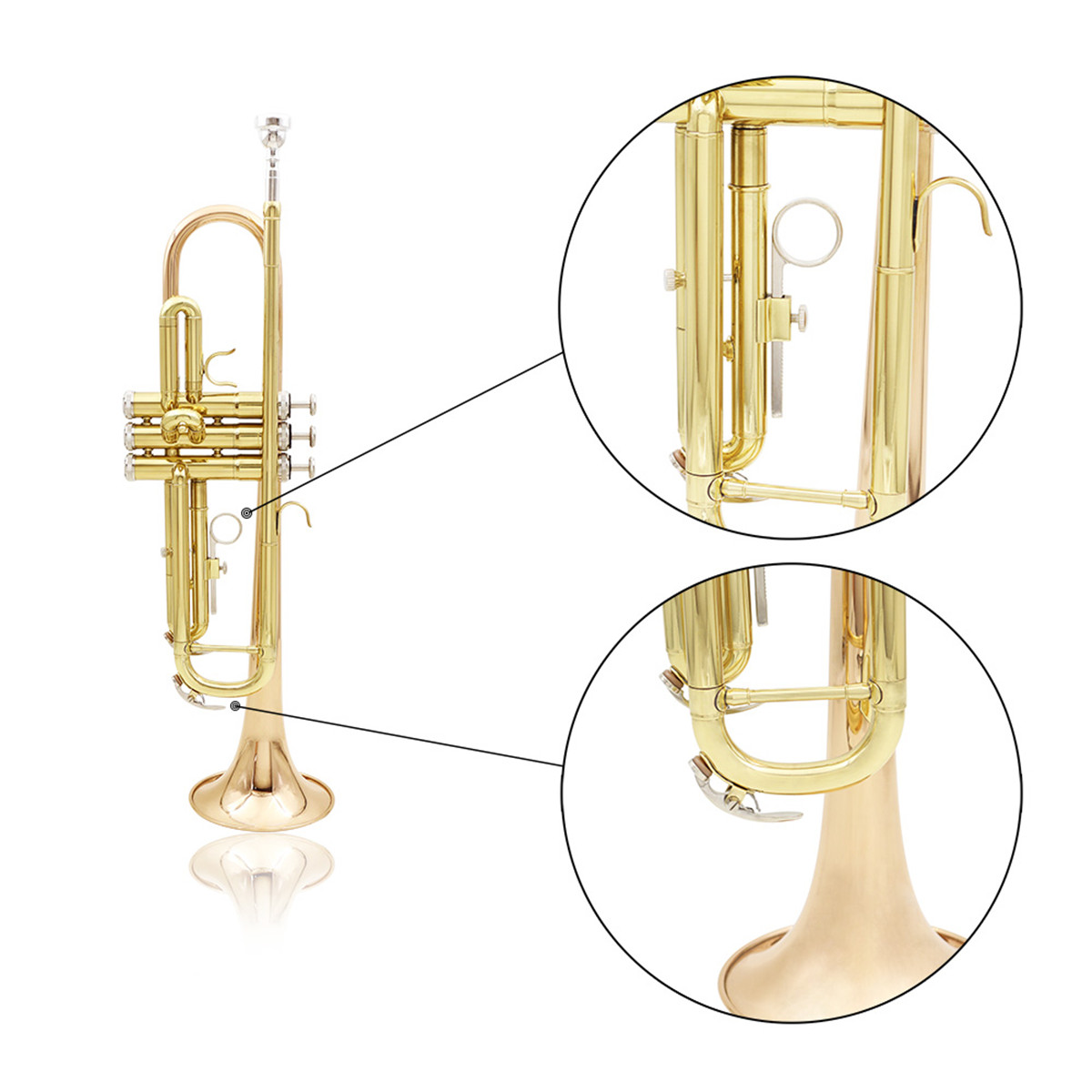 SLADE Gold Brass Bb Trumpet Kit Phosphorus-copper Trumpet Mouth for Beginners School Band with Carring Case
