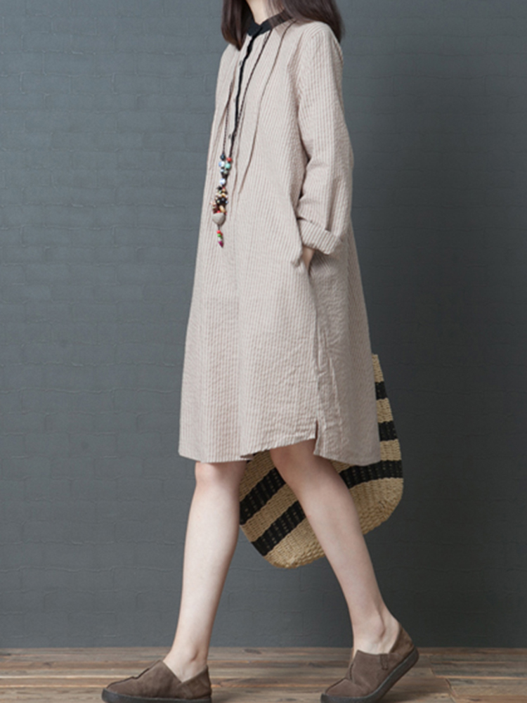 Women Long Sleeve Stripe Shirt Dress