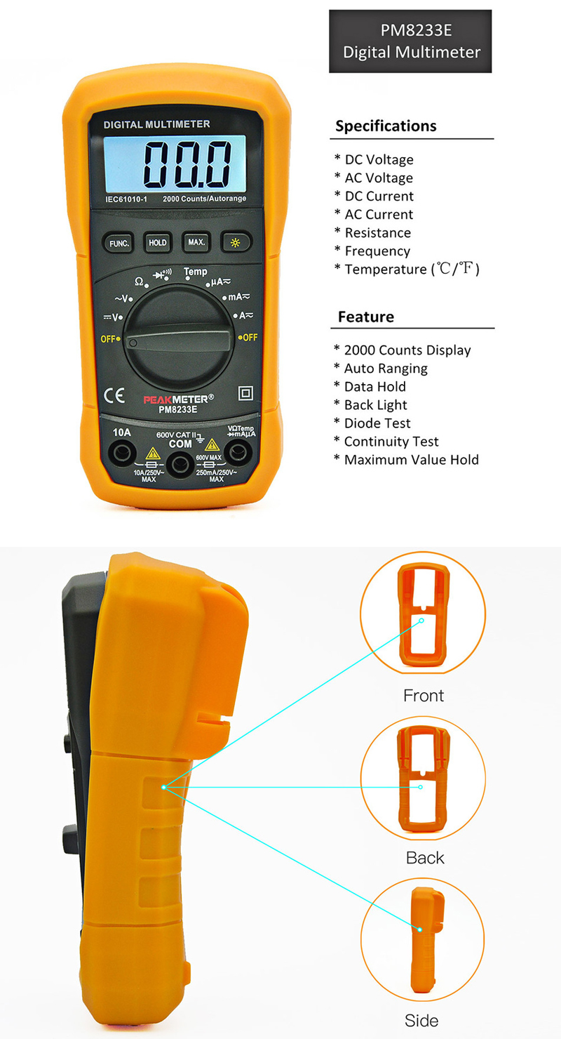 PEAKMETER MS8233E LCD Digital Auto Range Multimeter AC DC Ammeter Voltage Diode Continuity Tester