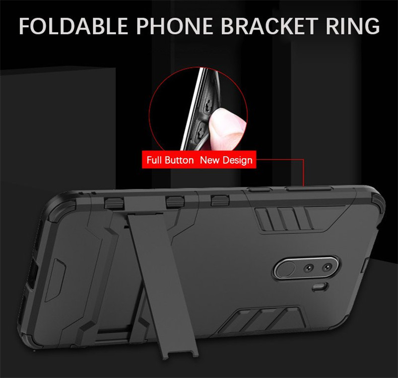 Bakeey™ Armor Shockproof with Desktop Stand Soft TPU + Hard PC Back Cover Protective Case for Xiaomi Pocophone F1