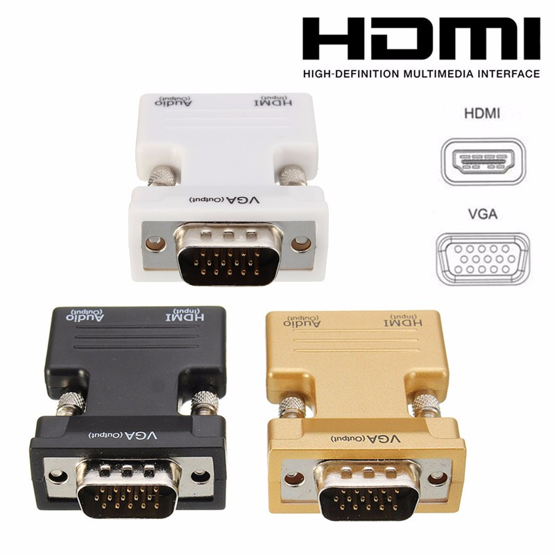 High Definition Multimedia Interface Female to VGA Male HD Converter Adapter With Audio