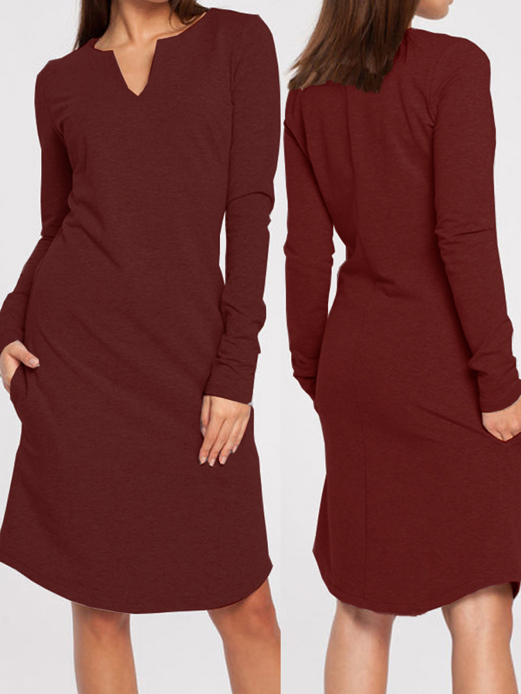 Women V-Neck Pure Color Knitted Pullover Long Sleeve Dress