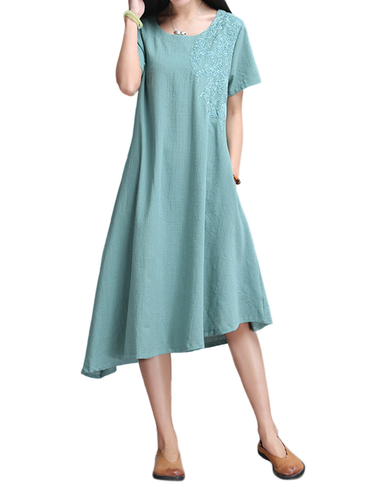 Vintage Women Embroidery High Low Linen Dress With Belt