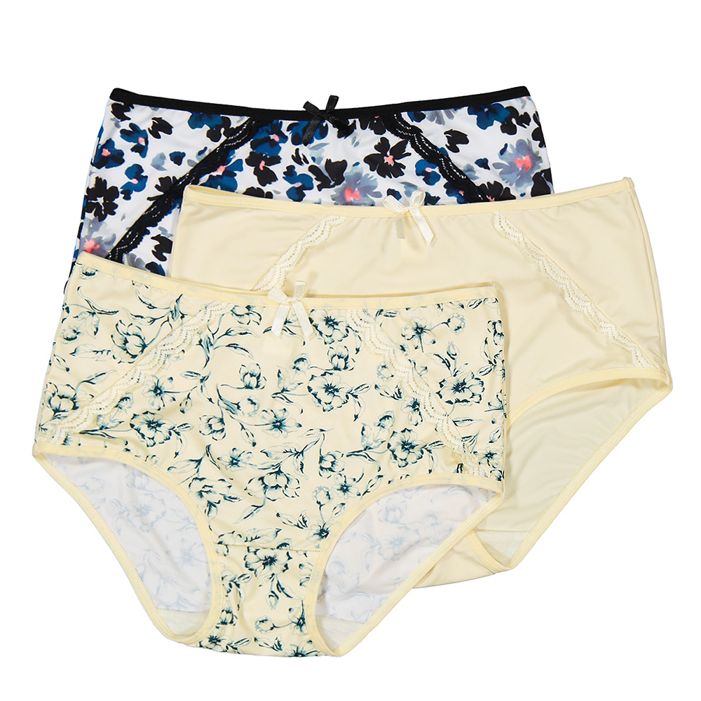 3 Pieces Milk Silk High Waist Printed Full Briefs