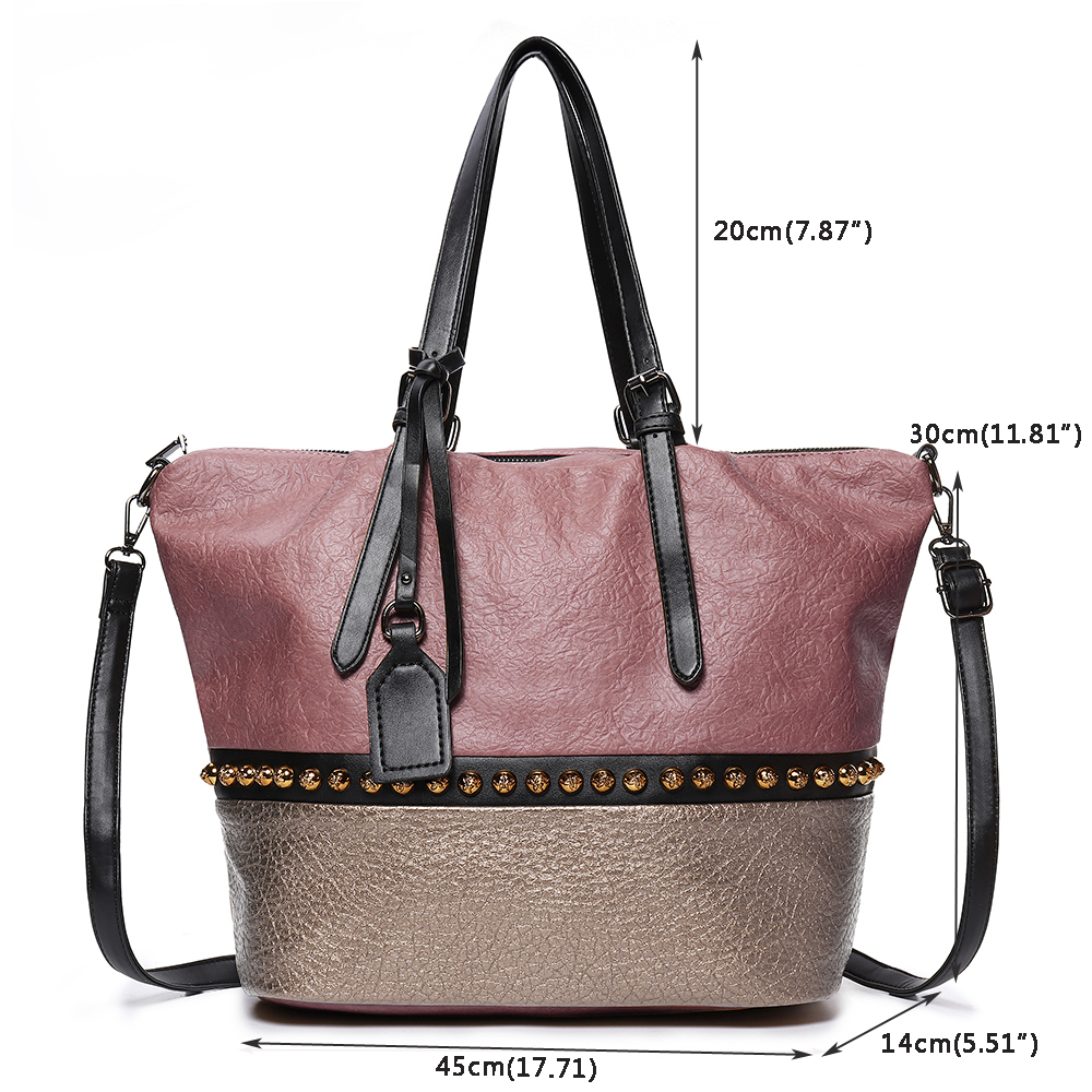 Brenice Stitching Color Faux Leather Tote Handbag Crossbody