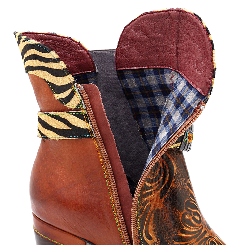 SOCOFY Genuine Leather Buckle Stitching Zipper Boots