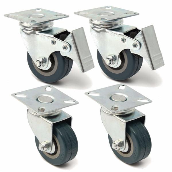 4pcs 50mm Heavy Duty Rubber Swivel Castor Wheels Trolley Caster Brake