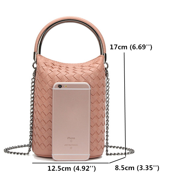 Women Weave Phone Handbags Mini Shoulder Bags Chain Bucket Crossbody Bags