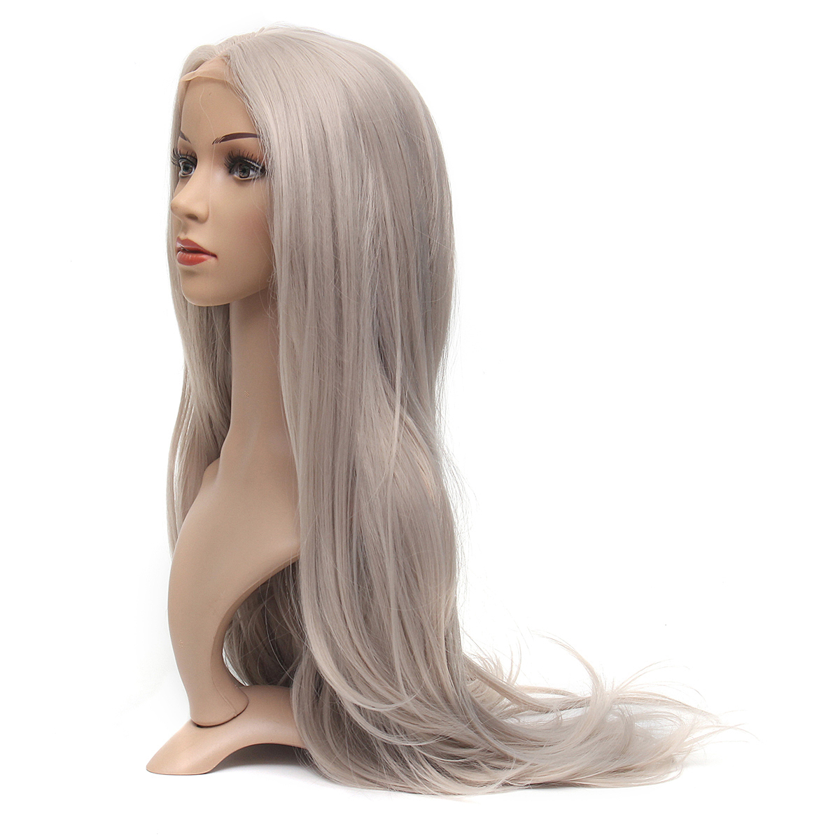 24 Inch Hair Platinum Blonde Front Lace Wigs