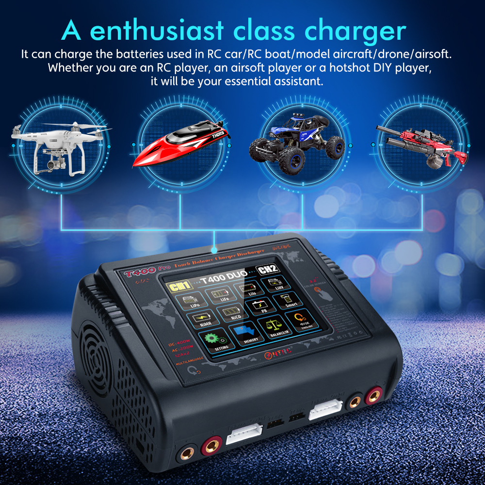 HTRC T400 Pro DC 400W AC 200W 12AX2 Lipo Battery Charger Discharger for LiPo LiHV LiFe Lilon NiCd NiMh Pb Battery