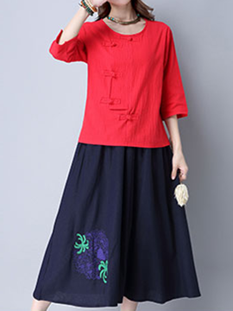 Chinese Style 3/4 Sleeve Plate Buckle Women Vintage T-shirts