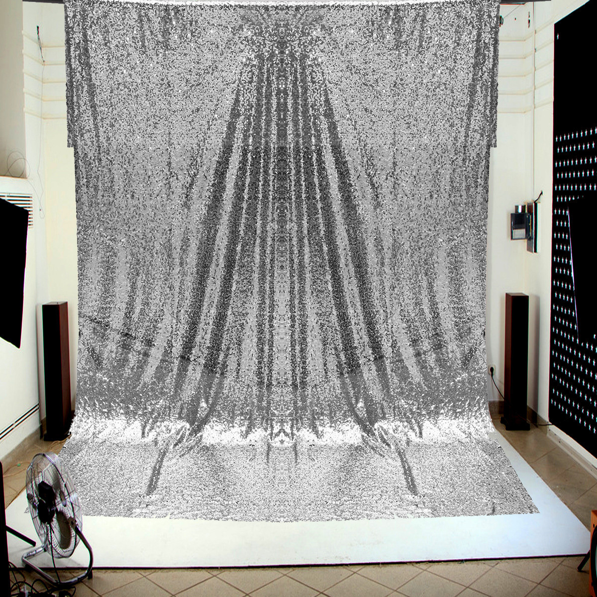 1.2x1.8M Silver Sequins Wall Photography Backdrop Studio Decoration Tablecloth