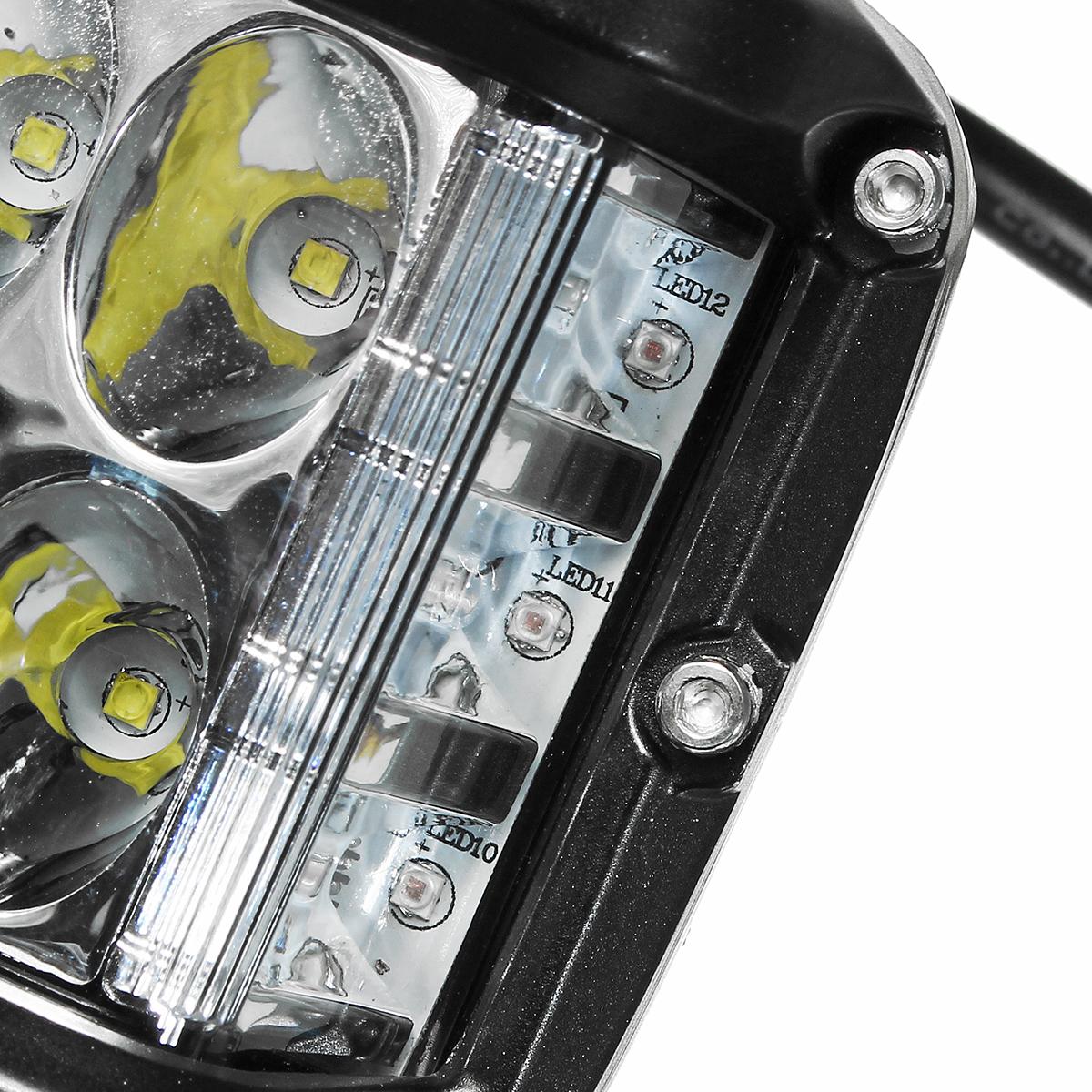 12V 10V-48V LED Work Fog Light Side Shooter Combo Dual Color Driving Offroad SUV Truck