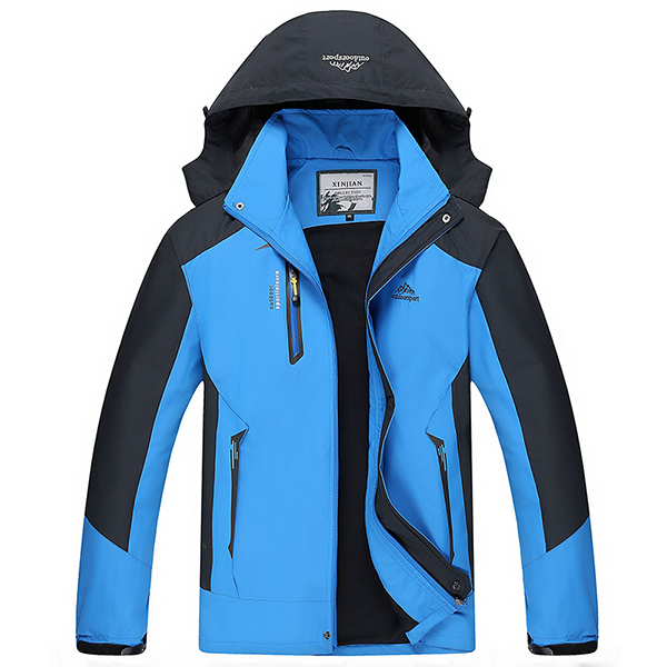 Mens Outdoor Waterproof Windproof Hooded Detachable Jacket Casual Sport Stand Collar Coat