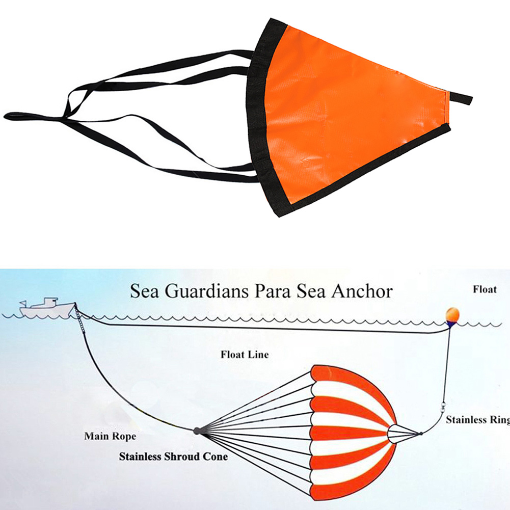 24/32/42/53 Inch Yacht Sea Anchor Drift Sock Fishing Trolling Drogue with Kayak Tow Rope Line Buoy Ball