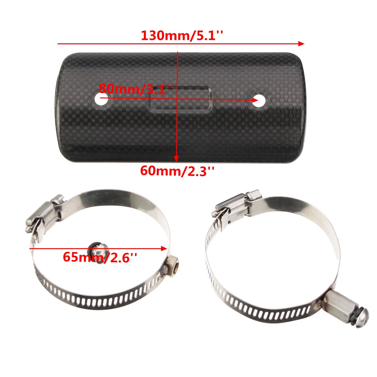4/5/8inch Carbon Motorcycle Exhaust Muffler Pipe Heat Protective Shield Cover