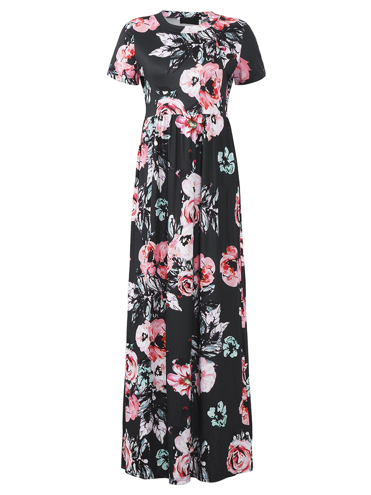 Casual Women Floral Printed Scoop Neck Floor-Length Dresses