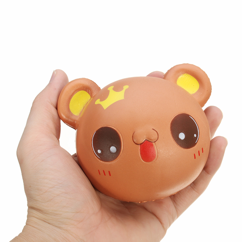 Squishy Bear Face Head Crown Rainbow 9.5cm Slow Rising With Packaging Collection Gift Decor Toy