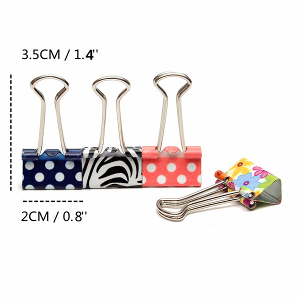 19mm Floral Foldback Binder Clips Metal Grip For Office Paper Documents