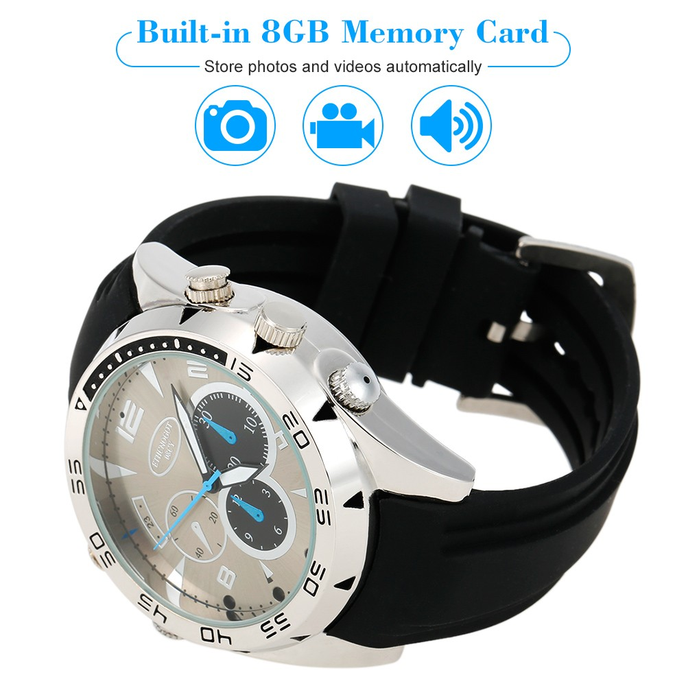 1080P Hidden Wrist Waterproof Watch Voice Recorder IR Night Vision Waterproof
