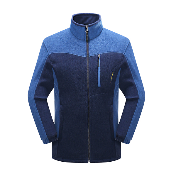 Men Outdoor Sports Casual Warm Polar Fleece Stitching Color Cardigan Jacket
