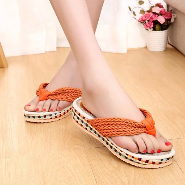 Women Summer Flip Flops Wedge Sandals Knitted Platform Beach Slippers