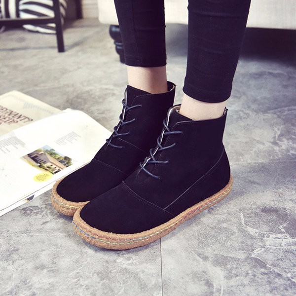 US Size 5-11 Women Short Boots Lace Up Round Toe Casual Outdoor Flats