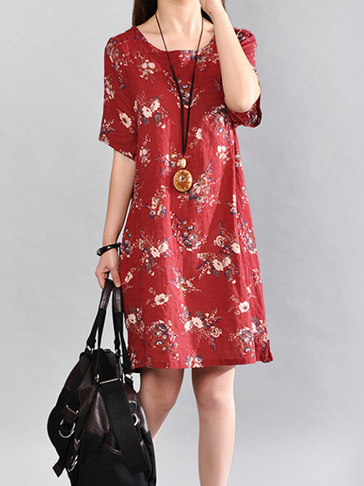 Women Casual Floral Printed Knee-Length Short Sleeve O-Neck Dress
