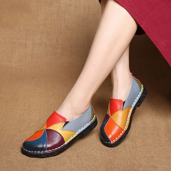 SOCOFY Shoes Women Splicing Flats