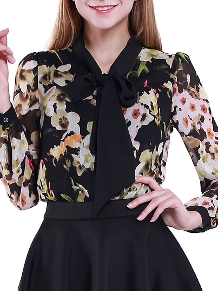 NADINE Loose Women Bow-tie Flower Printed Button Chiffon Blouse