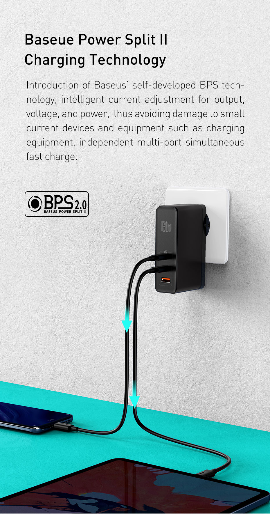 [GaN+SiC Tech] Baseus 120W USB-C Charger 3 Port PD3.0 QC4+ SCP FCP Quick Charge USB Wall Charger US Plug Adapter With 100W USB-C to USB-C Power Delivery Cable