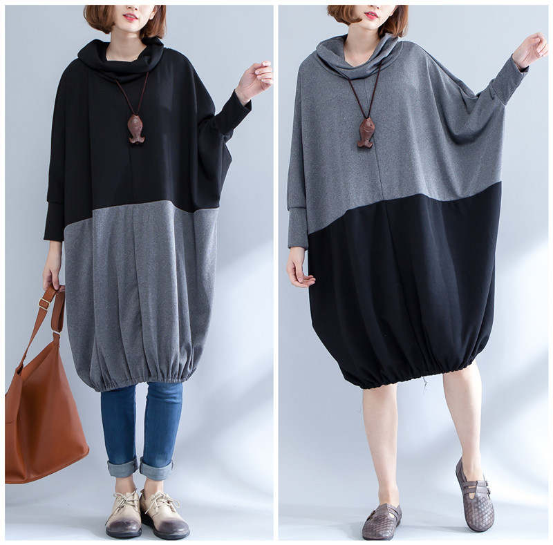 Plus Size Women Black Gray Splicing Sweatshirt Dress
