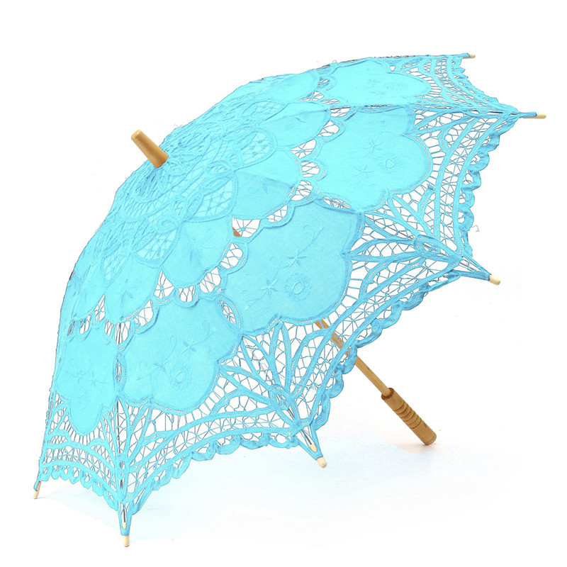 66cm Women Bride Cotton Lace Embroidery Hollow Out Umbrella Parasol Wedding Prop Decoration