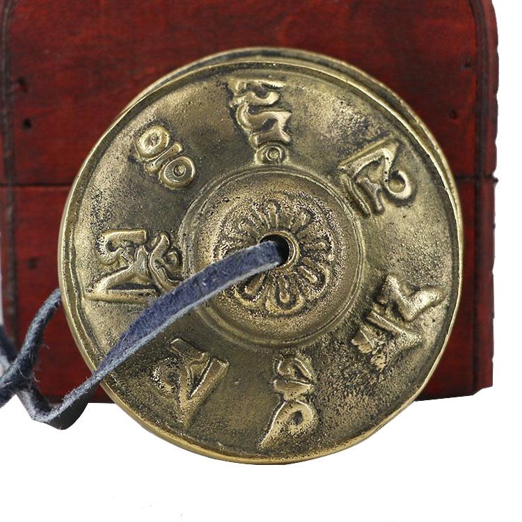 6.5cm Handcrafted Copper Tibetan Bells Six Words Mantras Tingsha