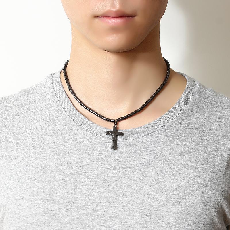Unisex Black Magnet Stone Chain Cross Pendant Beaded Necklace Christian Healing Jewelry