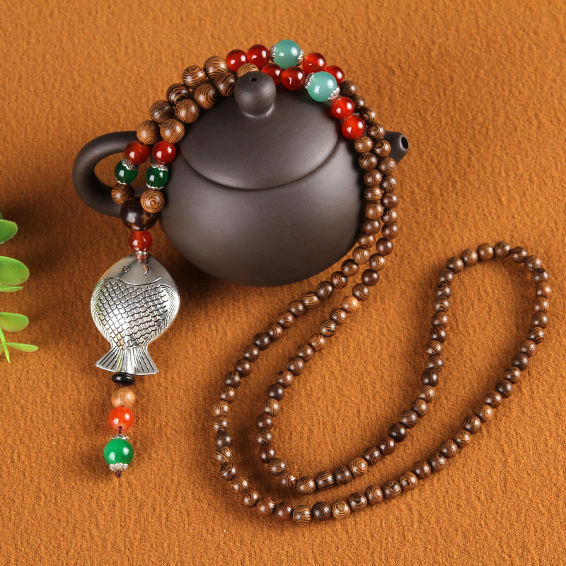 Retro Women's Colorful Wood Buddha Beads Pendant Necklace
